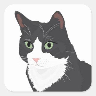 Tuxedo Cat Square Sticker