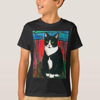 Tuxedo Cat Stained Glass Design Art T-Shirt