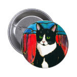 Tuxedo Cat Stained Glass Design Art T-Shirt 2 Inch Round Button