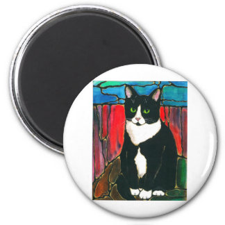 Tuxedo Cat Stained Glass Design Art T-Shirt 2 Inch Round Magnet