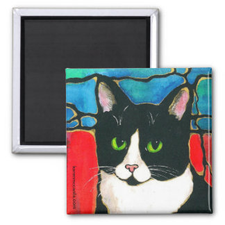Tuxedo Cat Stained Glass Design Art T-Shirt 2 Inch Square Magnet