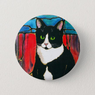 Tuxedo Cat Stained Glass Design Art T-Shirt Button