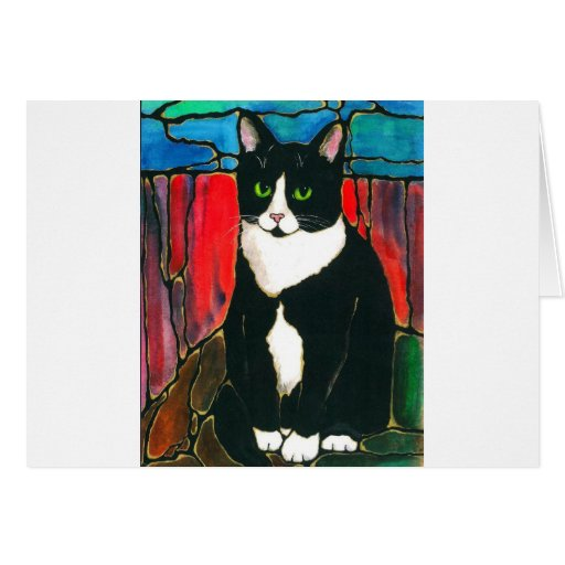 Tuxedo Cat Stained Glass Design Art T-Shirt Cards