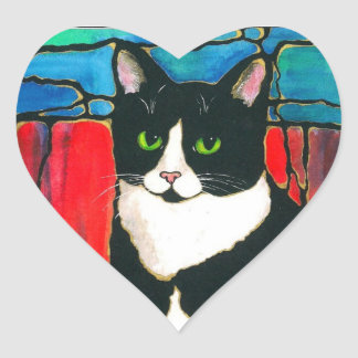 Tuxedo Cat Stained Glass Design Art T-Shirt Heart Sticker