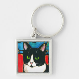 Tuxedo Cat Stained Glass Design Art T-Shirt Keychain
