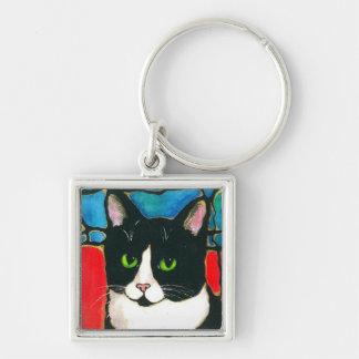 Tuxedo Cat Stained Glass Design Art T-Shirt Keychain