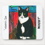 Tuxedo Cat Stained Glass Design Art T-Shirt Mouse Pad