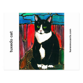 Tuxedo Cat Stained Glass Design Art T-Shirt Postcard