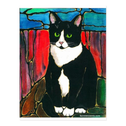 Tuxedo Cat Stained Glass Design Art T-Shirt Post Cards