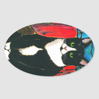 Tuxedo Cat Stained Glass Design Art T-Shirt Oval Stickers