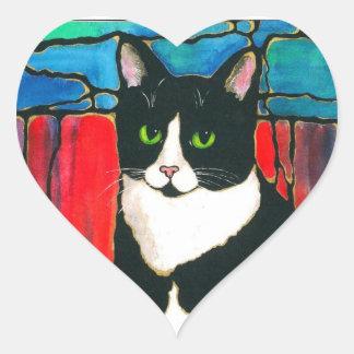 Tuxedo Cat Stained Glass Design Art T-Shirt Heart Stickers