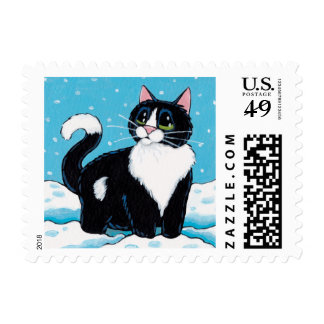 Tuxedo Cat Standing Knee Deep in Snow Painting Postage