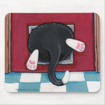 Tuxedo Cat Stuck in a Cat Flap - Funny Cat Art Mouse Pad