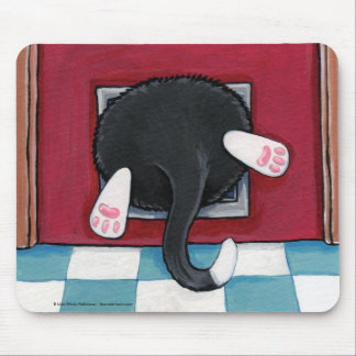 Tuxedo Cat Stuck in a Cat Flap - Funny Cat Art Mouse Pads