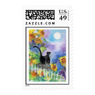 Tuxedo Cat Sunflowers Postage Stamps