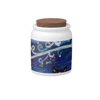 Tuxedo Cat & Tree of Life Candy Jars