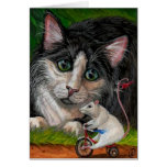 TUXEDO CAT Tricycle Mouse Note Card