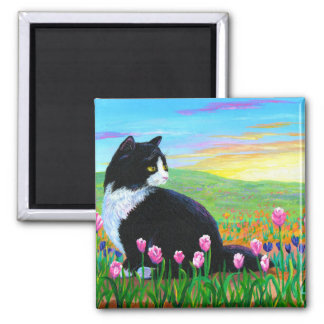 Tuxedo Cat Tulips Creationarts Magnet