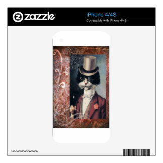 Tuxedo Cat Victorian Gentleman Top Hat Steampunk iPhone 4S Decal