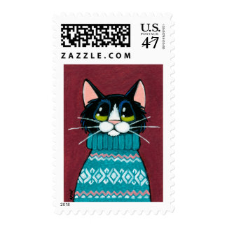 Tuxedo Cat Wearing an Ugly Sweater Painting Postage