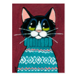 Tuxedo Cat Wearing an Ugly Sweater Painting Post Cards