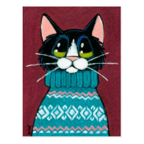 Tuxedo Cat Wearing an Ugly Sweater Painting Postcard