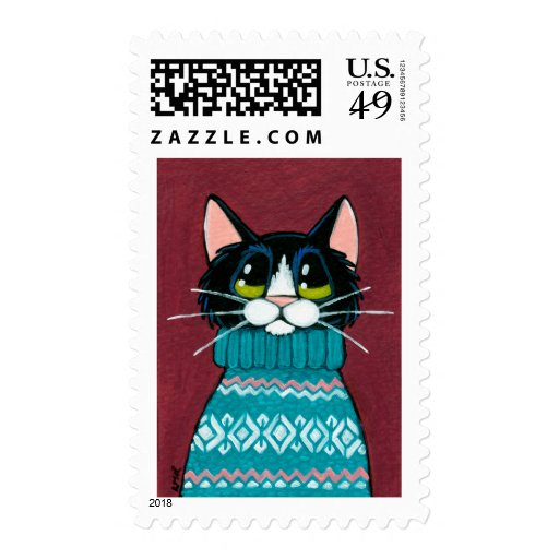 Ugly Birthday Cat: Tuxedo Cat Wearing An Ugly Sweater Painting Stamps