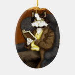 Tuxedo Cat Wearing Clothes and Reading Book Double-Sided Oval Ceramic Christmas Ornament