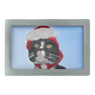 tuxedo cat wearing santa hat sparkle belt buckles