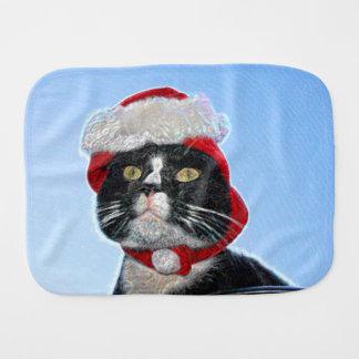 tuxedo cat wearing santa hat sparkle burp cloths