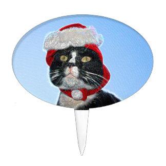 tuxedo cat wearing santa hat sparkle cake pick