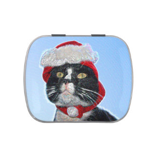 tuxedo cat wearing santa hat sparkle jelly belly candy tins