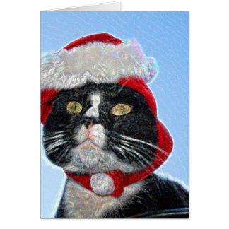 tuxedo cat wearing santa hat sparkle greeting cards