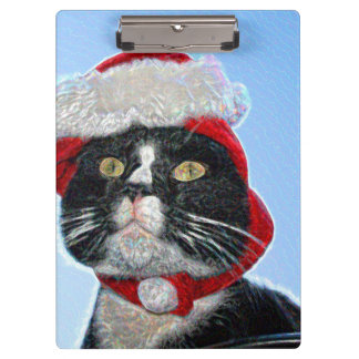 tuxedo cat wearing santa hat sparkle clipboards