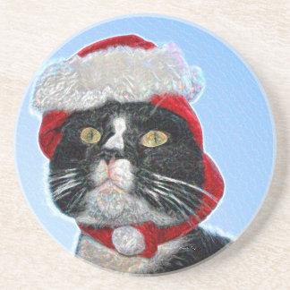 tuxedo cat wearing santa hat sparkle beverage coaster