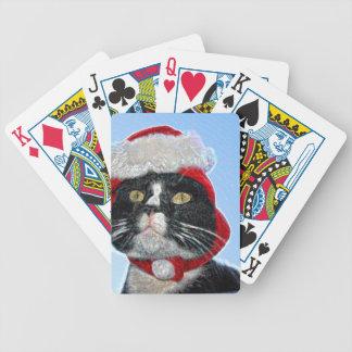 tuxedo cat wearing santa hat sparkle deck of cards
