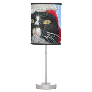 tuxedo cat wearing santa hat sparkle desk lamps
