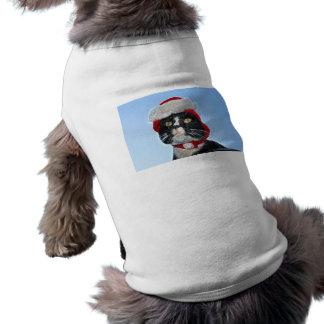 tuxedo cat wearing santa hat sparkle dog tee