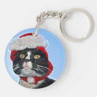 tuxedo cat wearing santa hat sparkle Double-Sided round acrylic keychain