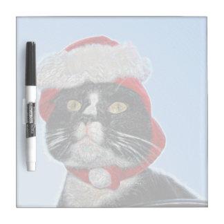 tuxedo cat wearing santa hat sparkle dry erase white board