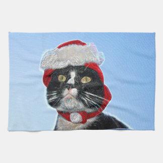 tuxedo cat wearing santa hat sparkle hand towels