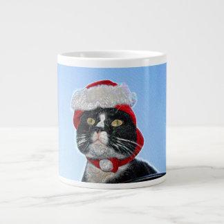 tuxedo cat wearing santa hat sparkle jumbo mug