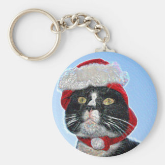tuxedo cat wearing santa hat sparkle key chain