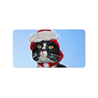 tuxedo cat wearing santa hat sparkle label