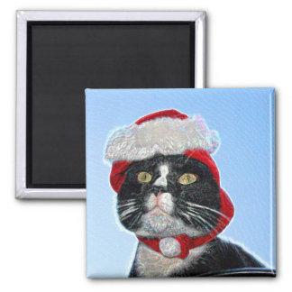tuxedo cat wearing santa hat sparkle refrigerator magnet
