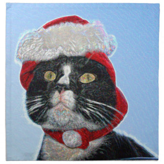 tuxedo cat wearing santa hat sparkle napkins