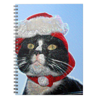 tuxedo cat wearing santa hat sparkle spiral notebooks