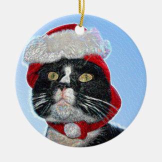 tuxedo cat wearing santa hat sparkle ornament