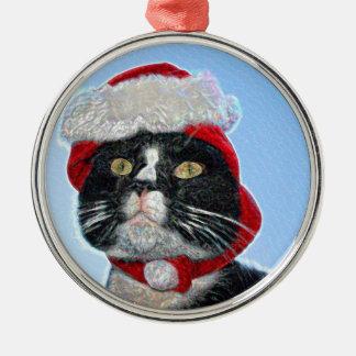 tuxedo cat wearing santa hat sparkle christmas tree ornaments