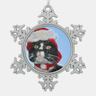 tuxedo cat wearing santa hat sparkle ornaments